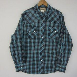 Wrangler Mens Large LS Plaid Pearl Snap Shirt Blue